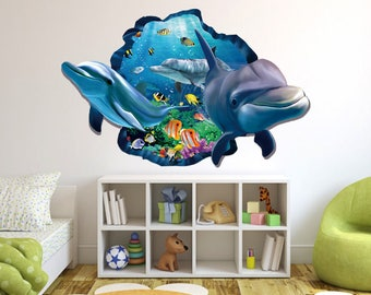 Aquarium Dolphins Underwater Life 3D Effect Wall Sticker Art Mural 875