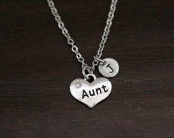 Aunt Necklace - Aunt Jewelry - Aunt Gift - Aunt Love - Aunt Christmas Gift - Aunt Birthday Gift-New Aunt Gift-Baby Announcement-Carved - I/B