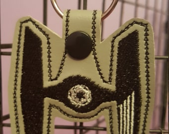 TIE FighterKeyChain, Snap Tab, Key Fob, Bag Tag, Embroidered,  Star Wars TIE Fighter , Star Wars Gift