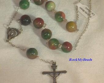 Multicolored Car Rosary Single Decate Car Rosary,Auto Rosary,Rosary,Pocket Rosary,Catholic Rosary,Catholic,Prayer Beads,Travel Rosary,Cross