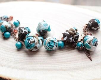 Fabric bracelet Rose bracelet Blue brown textile bracelet Fabric jewelry Flower bracelet Floral jewelry Clusters bracelet
