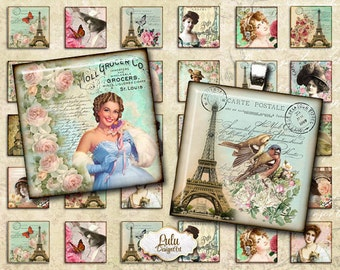 Paris digital collage sheet, 1 inch square images, printable images, french embellishment, pendant images, digital stamp, printable stickers