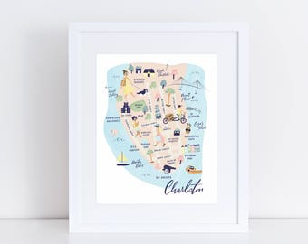 The Charleston Collection - Map Art Print