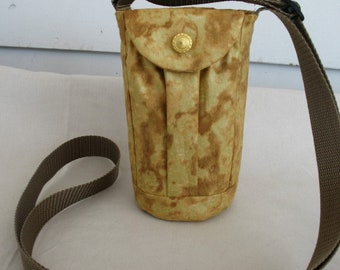 Water Bottle Holder Sling//Walkers Insulated Water Bottle Cross Body Bag// Hikers Water Bottle Bag-  gold metallic fabric