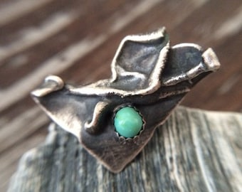 Molten Metal Industrial Triangle Ring in Sterling Silver w/ Handcut Natural Campitos Turquoise - Unique December / Sagittarius Birthstone