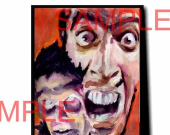ash williams bruce campbell artwork painting print horror evil dead evil dead 2 army of darkness