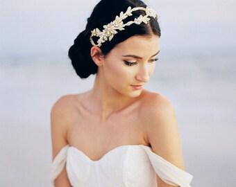 Or casque nuptiale. Accessoire de cheveux de mariée or. Vigne de cheveux de mariée or {Anastasia}