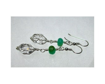 ww1350 - CHRYSOPRASE & HERKIMER DIAMOND Wirewrap Earrings - Argentium Sterling Silver