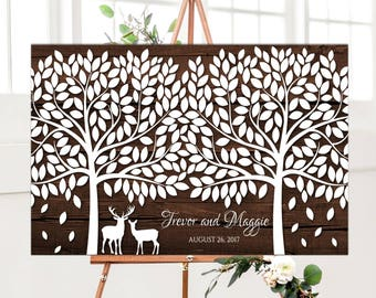 Large Wedding guest book alternative signature Tree with Deer Rustic wedding guestbook large Wooden Wedding Guest book for 300 guests