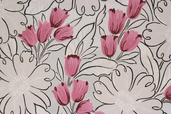 1940s vintage wallpaper pink tulips white flowers with silver 1940s vintage wallpaper pink tulips white flowers with silver accents by the yard from rosieswallpaper on etsy studio mightylinksfo