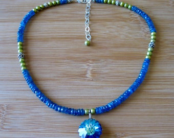 Vintage Swarovski Crystal Pendent on Choker of Facetted Apatite and Freshwater Pearls
