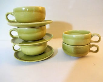 Russel Wright American Modern Coffee Cup and Saucer - Chartreuse - Mid Century Modern Dinnerware Set