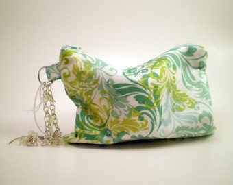 Wristlet in Green, Aqua & White with Chain Bracelet