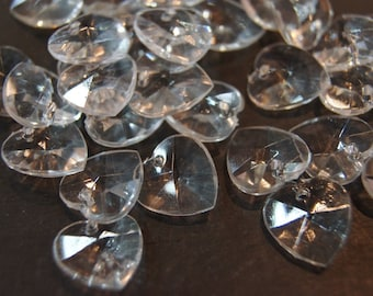 CLOSEOUT SALE - Faceted Clear Heart Shape Lucite Beads - 14mm - 50 pcs