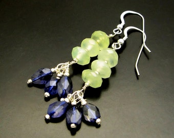 WATER LILIES ~ Sapphire Blue Iolite, Prehnite,  Sterling Silver Earrings