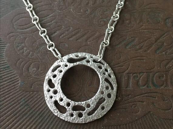 Silver Circle Pendant, Handmade Chain, Silversmith Jewelry