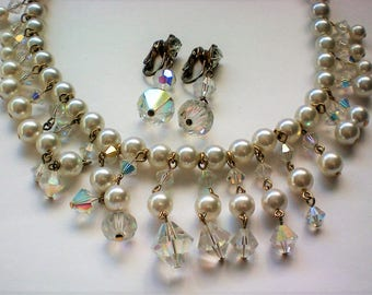 Faux Pearl and Bicone AB Bead Bib Fringe Necklace with Earrings - 5640