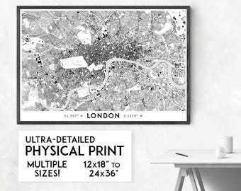 Buildings of London print | Physical London map print, London wall art, London art, London map art, London poster, London gift, England map