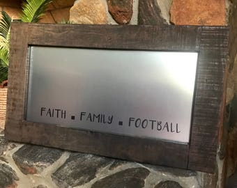 Farmhouse Magnet Board - Rustic Message Board - Magnetic Board - Faith Family Football - Dry Erase - Framed Magnet Board - Bulletin Board
