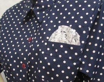 Vintage 80s Polka Dot Shirt Dress in Navy Blue Cotton XL