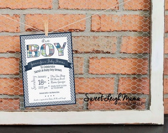 Baby Shower Invitation - Baby Boy - DIY Baby Shower - Madras Plaid - Preppy - Navy Blue - Customize - Printable -  Invitation -  5x7""