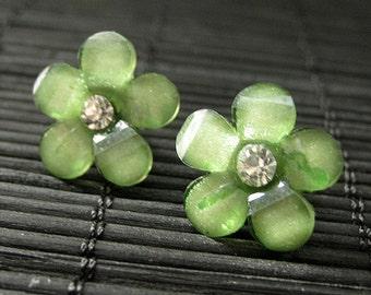 Forest Green Flower Earrings. Rhinestone Daisy Earrings on Bronze Post Earrings. Handmade Jewelry.
