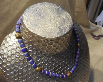 small vintage chevron bead necklace