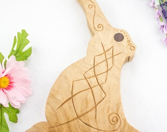 Hand Carved Scandinavian Style Eostre Bunny - Ostara Celebration - Hard Maple Plain