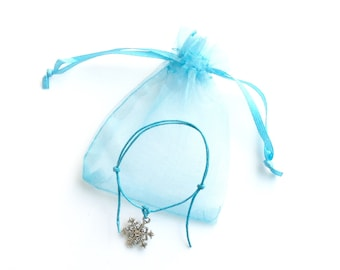 Snowflake Bracelet and Gift Bag - 8 Colours Available - Pink Purple Turquoise Yellow Red Green Black White - Frozen Party Bags Hen Night