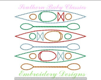 Kayak Boat Boats Kayaks Stack Vintage Quick Stitch Design File for Embroidery Machine Monogram Instant Download Girl Boy Summer Camping