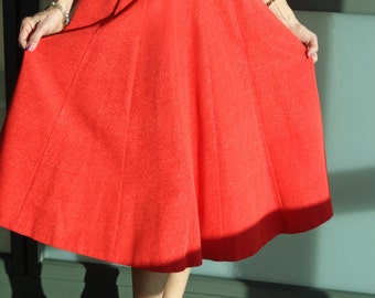 Vintage Dancing 1950's Bright Red Swirling Skirt