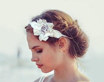 White Leather flower headband, leather fascinator, Floral Headband, Hair Accessory, Coachella Flower, prom flower, wedding flower, boho chic