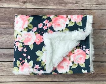 Infant Baby Blanket - Navy Floral Baby Blanket - Floral Nursery - Car Seat Blanket - Watercolor Floral Baby Blanket - Floral Baby Bedding