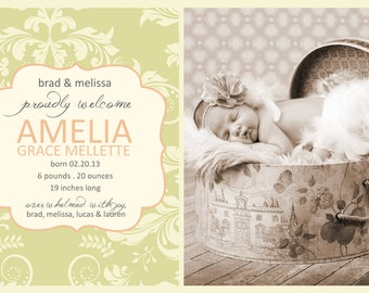 Birth Announcement YOU PRINT 4x6 or 5x7