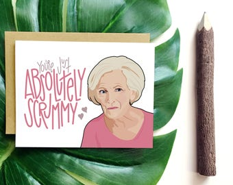 Youre Just Absolutely Scrummy/Valentines day Card/Mary Berry/Unique Love Card/Card for husband or boyfriend/Under 5/Great British Bake Off