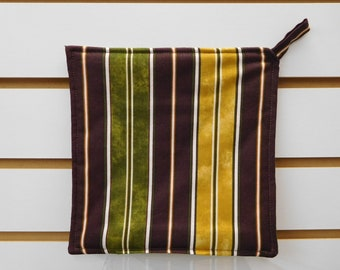 """507 Striped Hot Pad, Striped Pot Holder, Fabric Trivet, Kitchen Potholder, Quilted Heat Resistant Backing, 7-3/4"""" by 7-3/4"""" Square"""