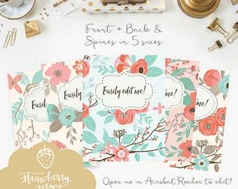 "Binder cover printable: ""CORAL & MINT FLOWERS"" 5x set Covers + Spines, Binder insert, Floral binder, Teacher binder, School binder inserts"