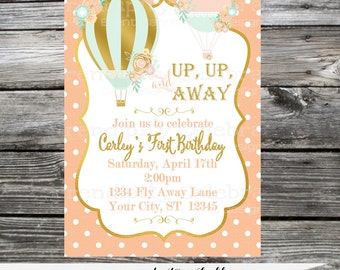 Birthday Hot Air Balloon Invitation, Bridal Shower Invite, Baby Shower Invitation, Up Up and Away,  Printed Invitation,  Gold, Mint, Peach