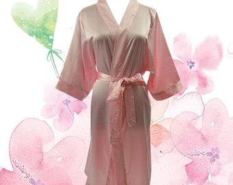 Satin Knee Length Bridal Robe Bridesmaids Robe – Pink