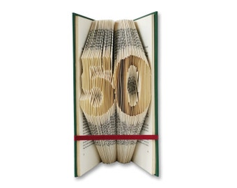 50th Birthday - Folded Book Art - Birthday gift - Abraham - Sarah - 50 - Number - Home decoration - Gift for book lovers - Gift for him, 001