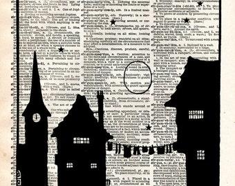 Vintage Book Art Print - Fairytale Silhouette - Cinderella Fairy Tale - Town Village Print - Altered Art Book Print - Vintage Dictionary