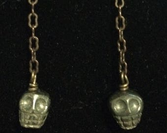 Carved Pyrite Skull Earrings