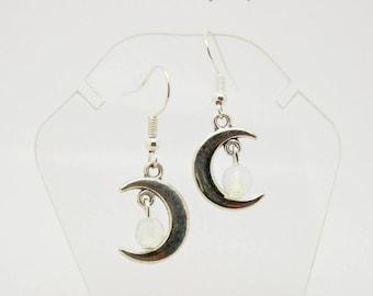 Moon Earrings - Crescent Moon Earrings - Moon and Moonstone Earrings - Silver Moon Earrings - Moonstone Earrings - Silver Earrings