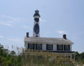 Cape Lookout Lighthouse & Keepers Quarters Barrier Islands North Carolina Photography Fine Art Print Scott D Van Osdol Black White Stripes