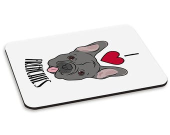 I Love Frenchies PC Computer Mouse Mat Pad