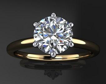 naomi ring - 1 carat old European cut round moissanite engagement ring, ZAYA moissanite