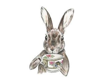 The Tea Lover // watercolour artwork, soft colours, giclee print, art print, home decor, art, watercolour, vintage style