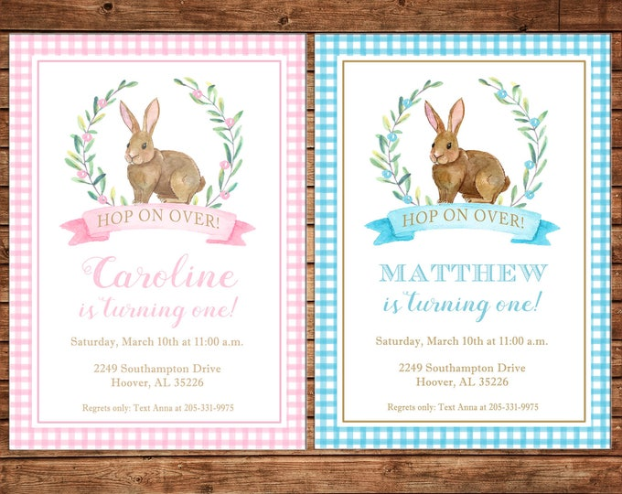 Invitation Watercolor Laurel Bunny Rabbit Easter Birthday Party - Can personalize colors /wording - Printable File or Printed Cards