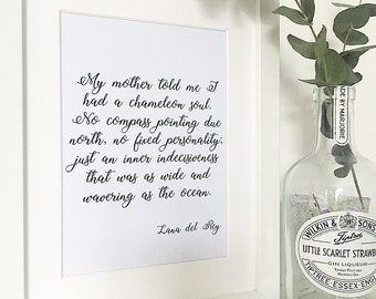 Lana Del Rey Print, Song Lyrics Print, Chameleon Soul