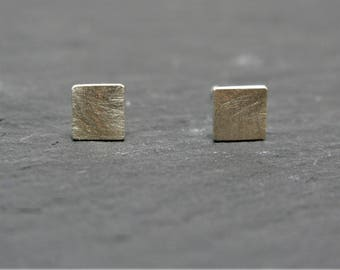 Square Sterling Silver Stud Earrings With a Brushed Finish